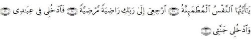 (Al Fajr Ayat :27-30)